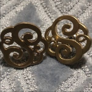 "Vintage Letter S Initial scroll 1"" Post Earrings"